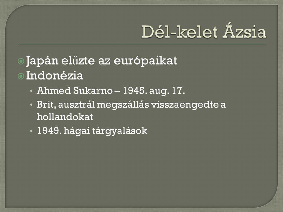 Dél-kelet Ázsia Japán elűzte az európaikat Indonézia