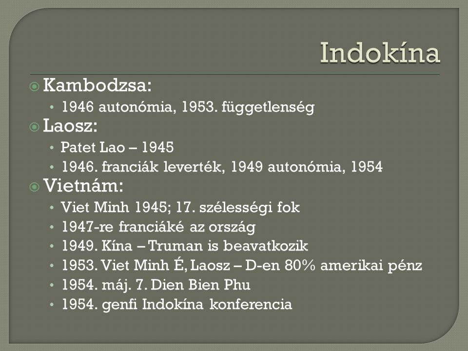 Indokína Kambodzsa: Laosz: Vietnám: 1946 autonómia, 1953. függetlenség