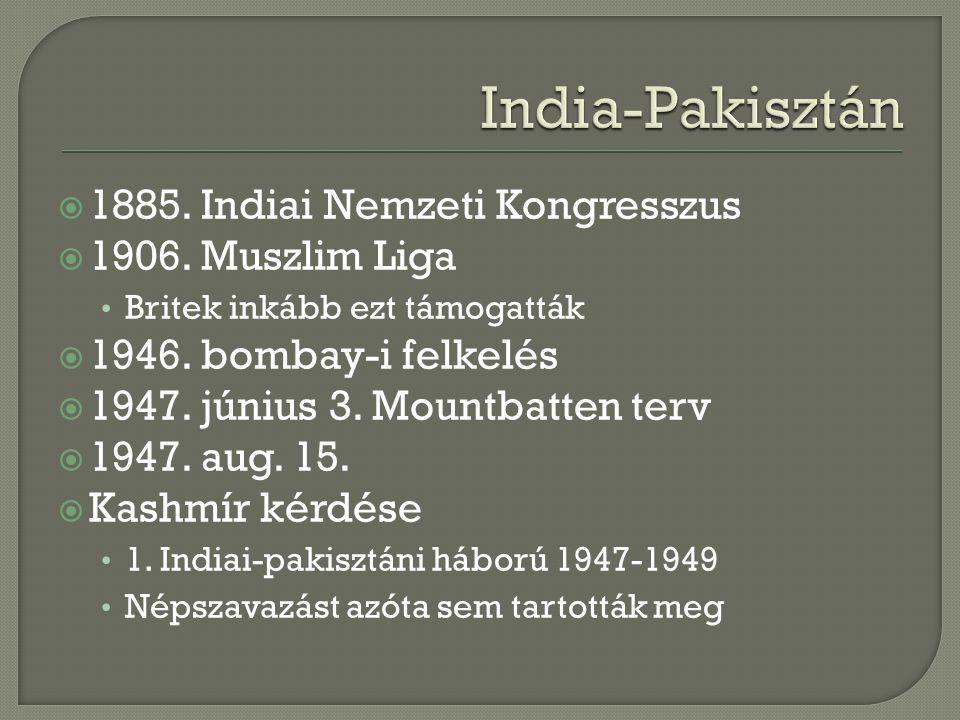 India-Pakisztán 1885. Indiai Nemzeti Kongresszus 1906. Muszlim Liga