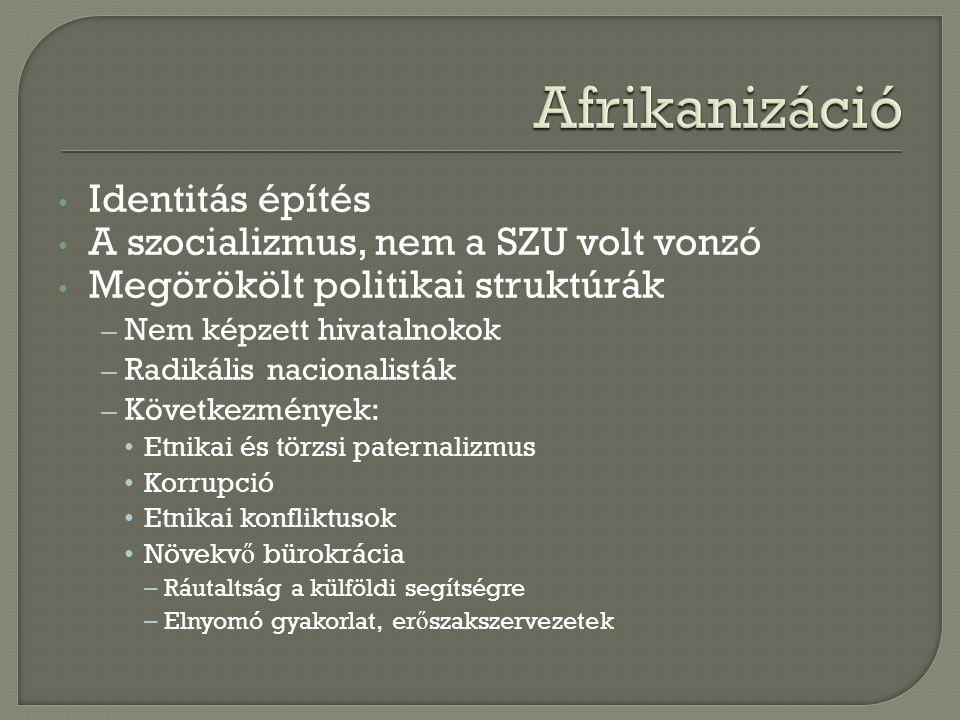 Afrikanizáció Identitás építés A szocializmus, nem a SZU volt vonzó