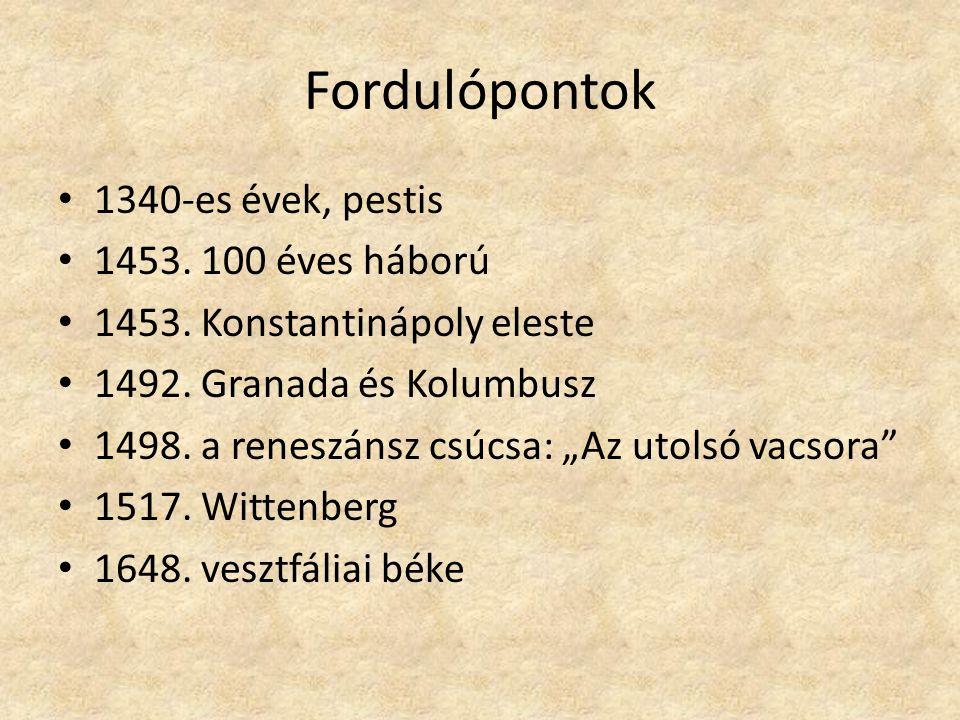 Fordulópontok 1340-es évek, pestis 1453. 100 éves háború