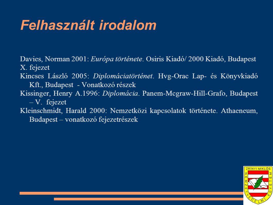 Felhasznált irodalom Davies, Norman 2001: Európa története. Osiris Kiadó/ 2000 Kiadó, Budapest. X. fejezet.