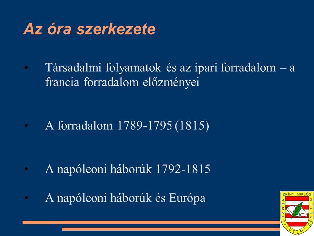 Az óra szerkezete Társadalmi folyamatok és az ipari forradalom – a francia forradalom előzményei. A forradalom 1789-1795 (1815)