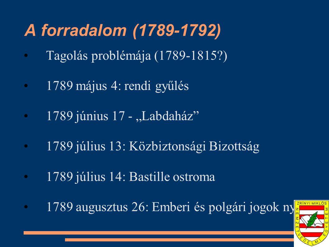 A forradalom (1789-1792) Tagolás problémája (1789-1815 )