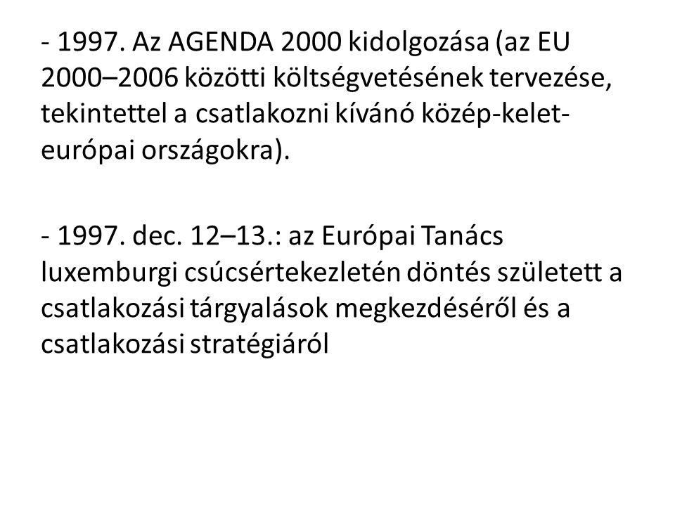 - 1997. Az AGENDA 2000 kidolgozása (az EU 2000–2006 közötti költségvetésének tervezése, tekintettel a csatlakozni kívánó közép-kelet-európai országokra).
