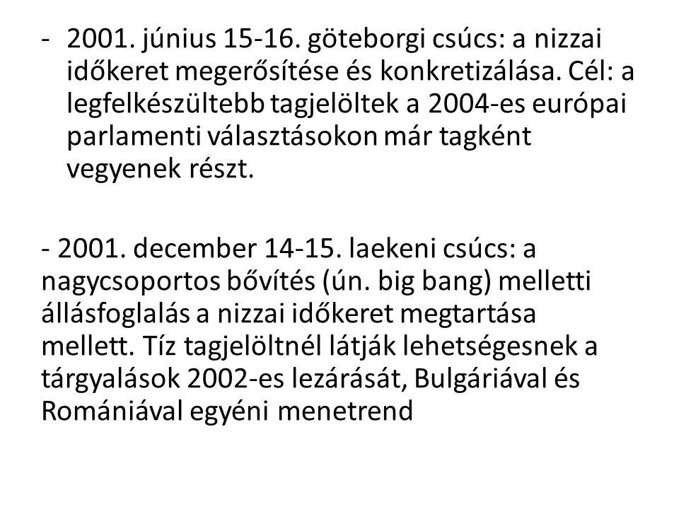 2001. június 15-16. göteborgi csúcs: a nizzai időkeret megerősítése és konkretizálása. Cél: a legfelkészültebb tagjelöltek a 2004-es európai parlamenti választásokon már tagként vegyenek részt.