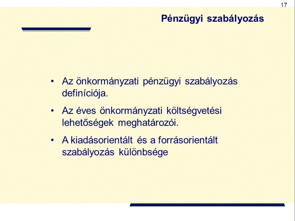 Pénzügyi szabályozás Az önkormányzati pénzügyi szabályozás definíciója. Az éves önkormányzati költségvetési lehetőségek meghatározói.