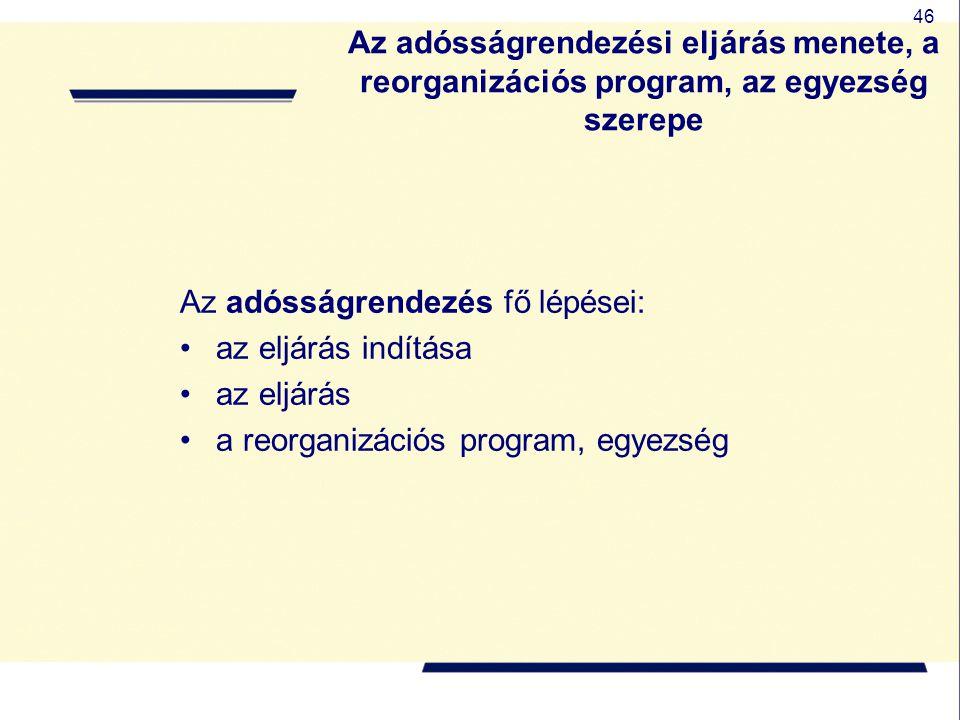 Az adósságrendezési eljárás menete, a reorganizációs program, az egyezség szerepe