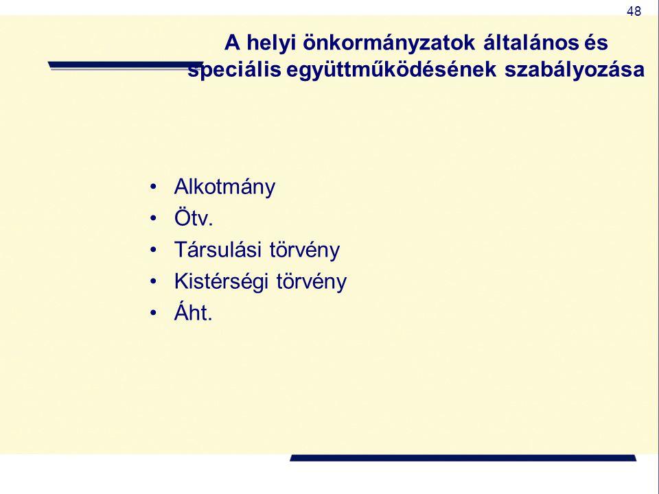 A helyi önkormányzatok általános és speciális együttműködésének szabályozása