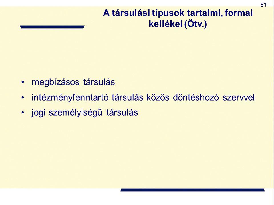 A társulási típusok tartalmi, formai kellékei (Ötv.)