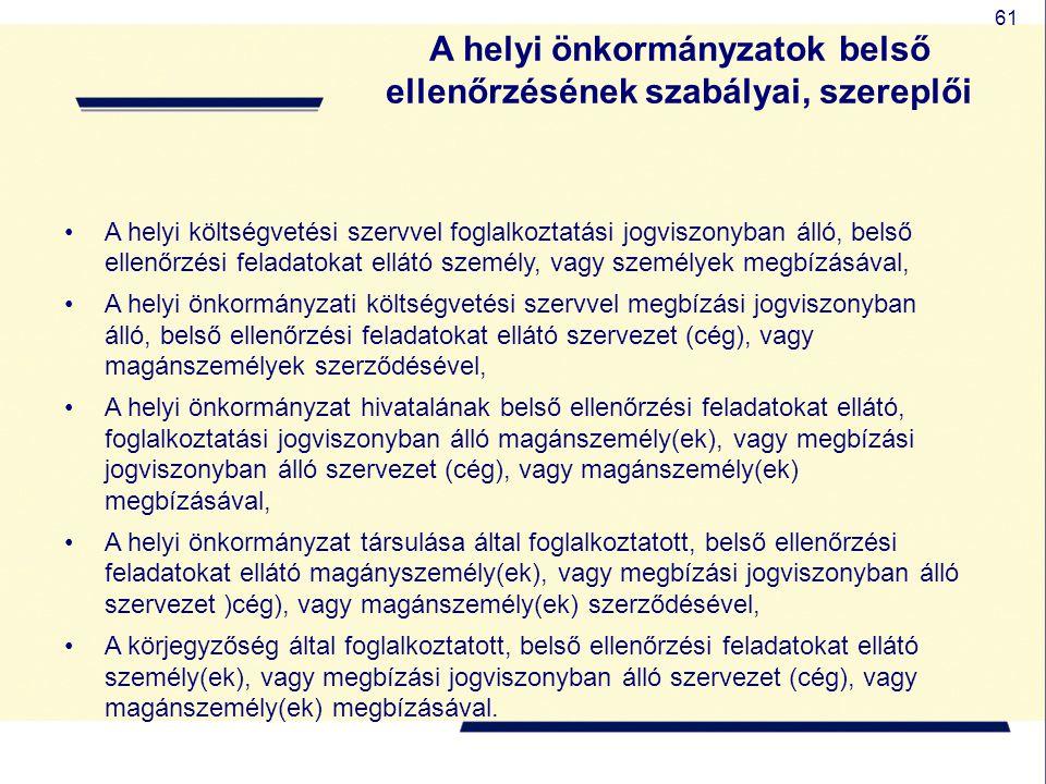 A helyi önkormányzatok belső ellenőrzésének szabályai, szereplői