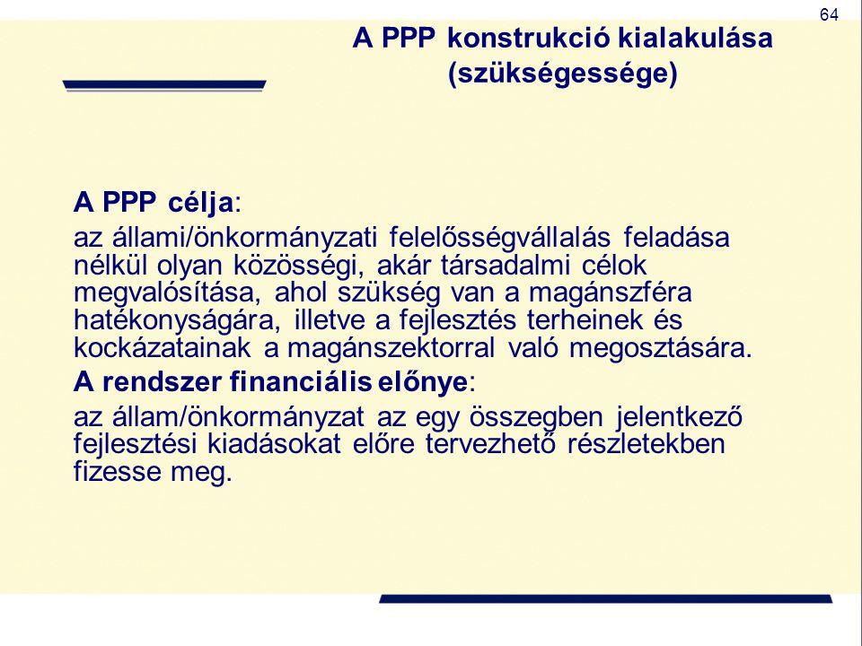A PPP konstrukció kialakulása (szükségessége)