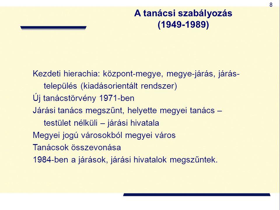 A tanácsi szabályozás (1949-1989)
