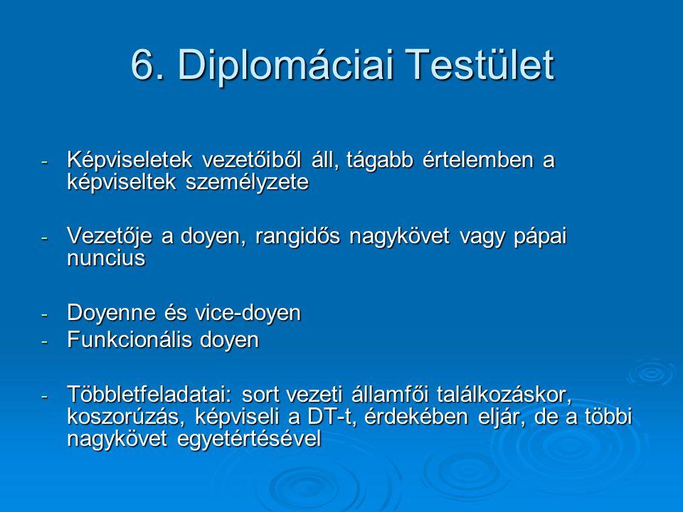 6. Diplomáciai Testület Képviseletek vezetőiből áll, tágabb értelemben a képviseltek személyzete.