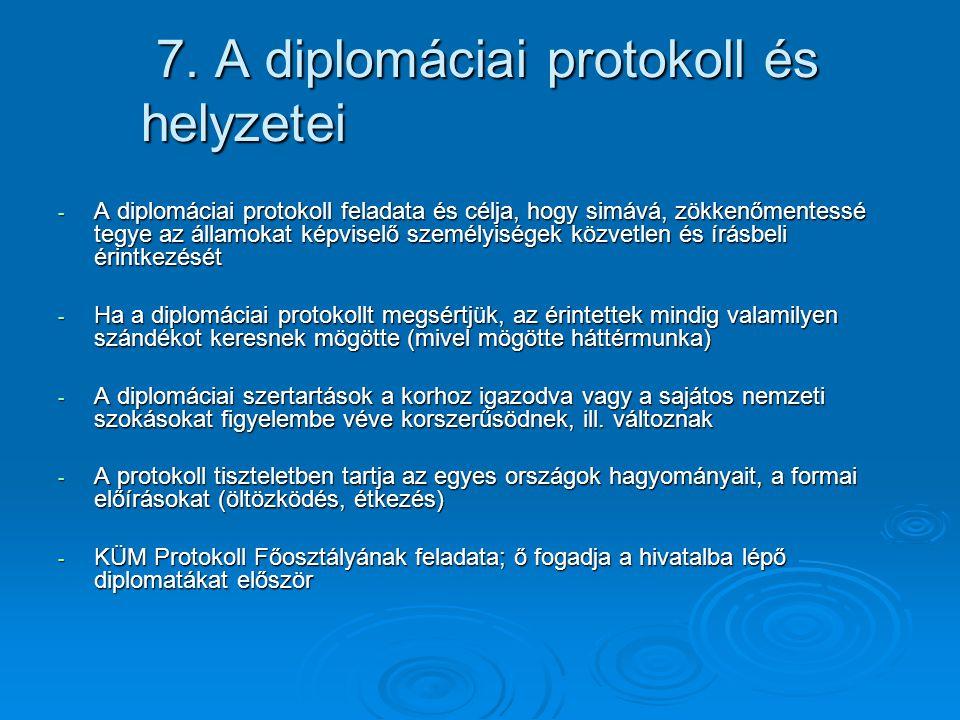 7. A diplomáciai protokoll és helyzetei