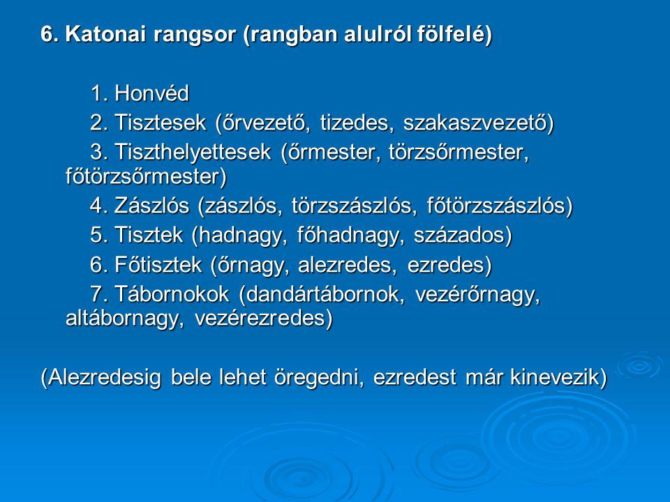 6. Katonai rangsor (rangban alulról fölfelé)