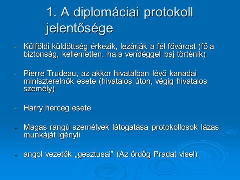 1. A diplomáciai protokoll jelentősége