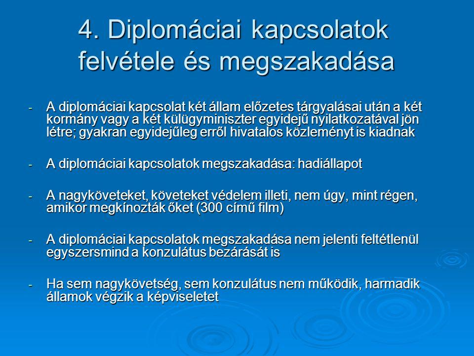 4. Diplomáciai kapcsolatok felvétele és megszakadása