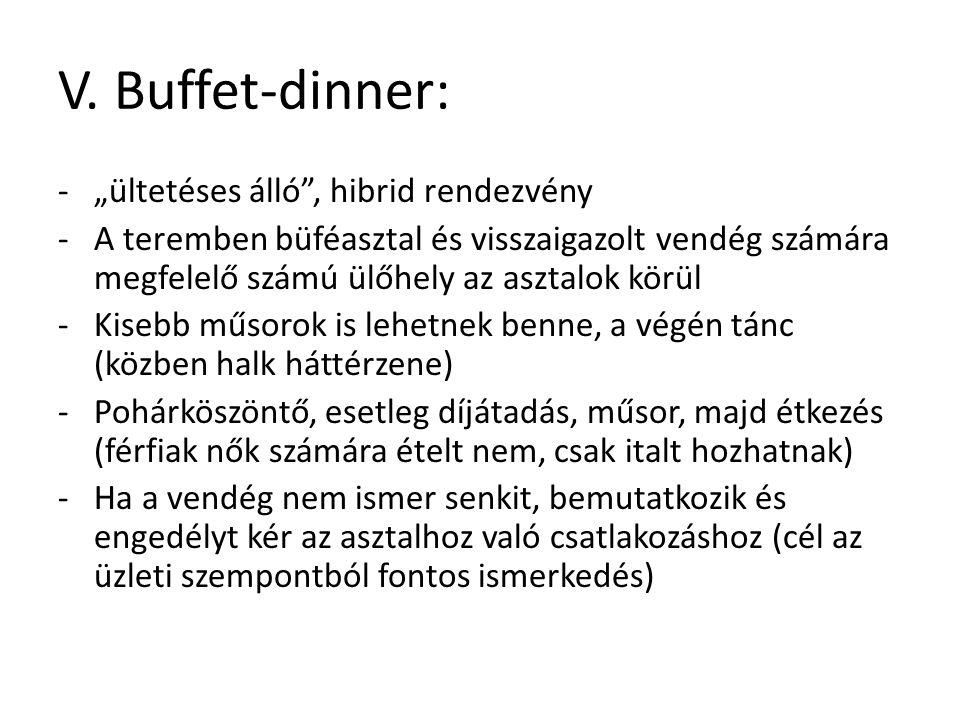 """V. Buffet-dinner: """"ültetéses álló , hibrid rendezvény"""