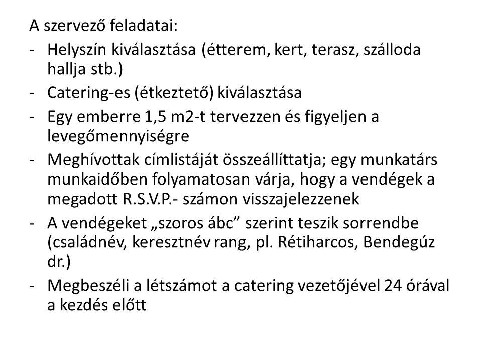 A szervező feladatai: Helyszín kiválasztása (étterem, kert, terasz, szálloda hallja stb.) Catering-es (étkeztető) kiválasztása.