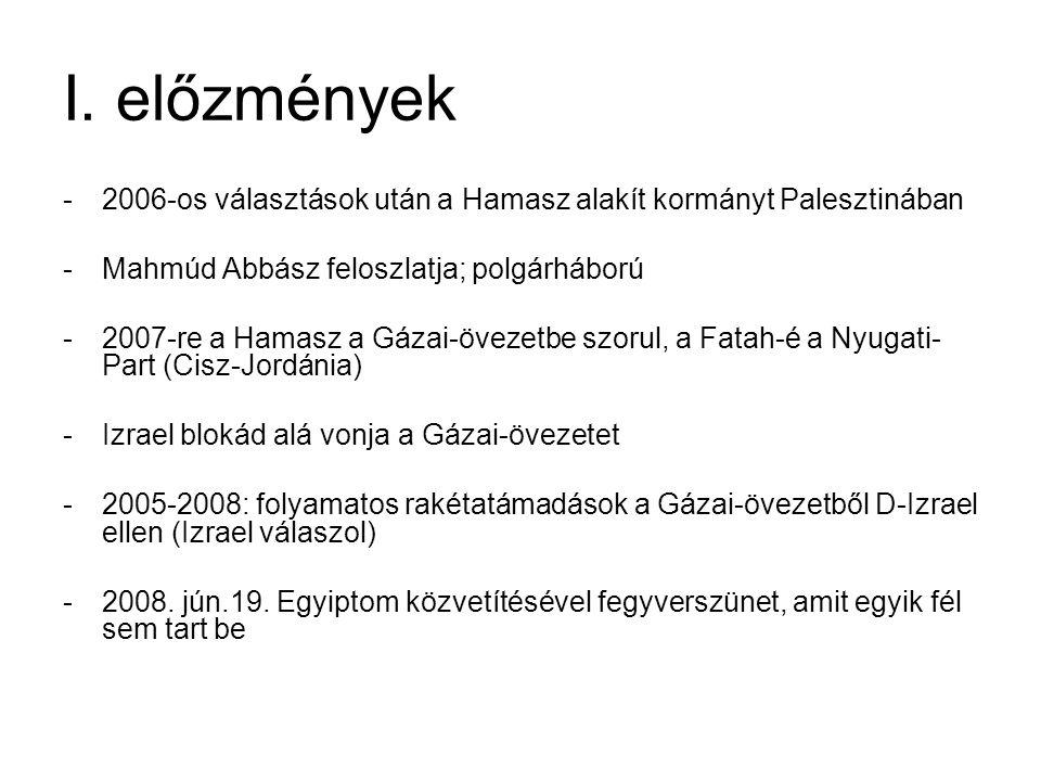 I. előzmények 2006-os választások után a Hamasz alakít kormányt Palesztinában. Mahmúd Abbász feloszlatja; polgárháború.