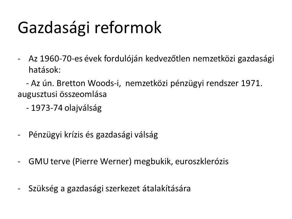 Gazdasági reformok Az 1960-70-es évek fordulóján kedvezőtlen nemzetközi gazdasági hatások: