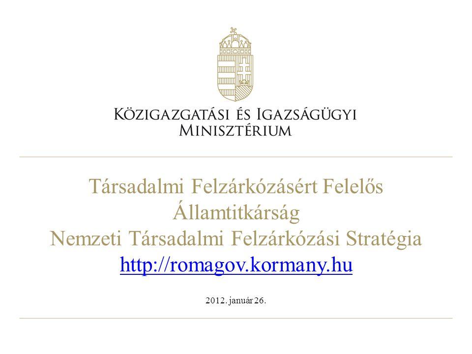 Társadalmi Felzárkózásért Felelős Államtitkárság Nemzeti Társadalmi Felzárkózási Stratégia http://romagov.kormany.hu