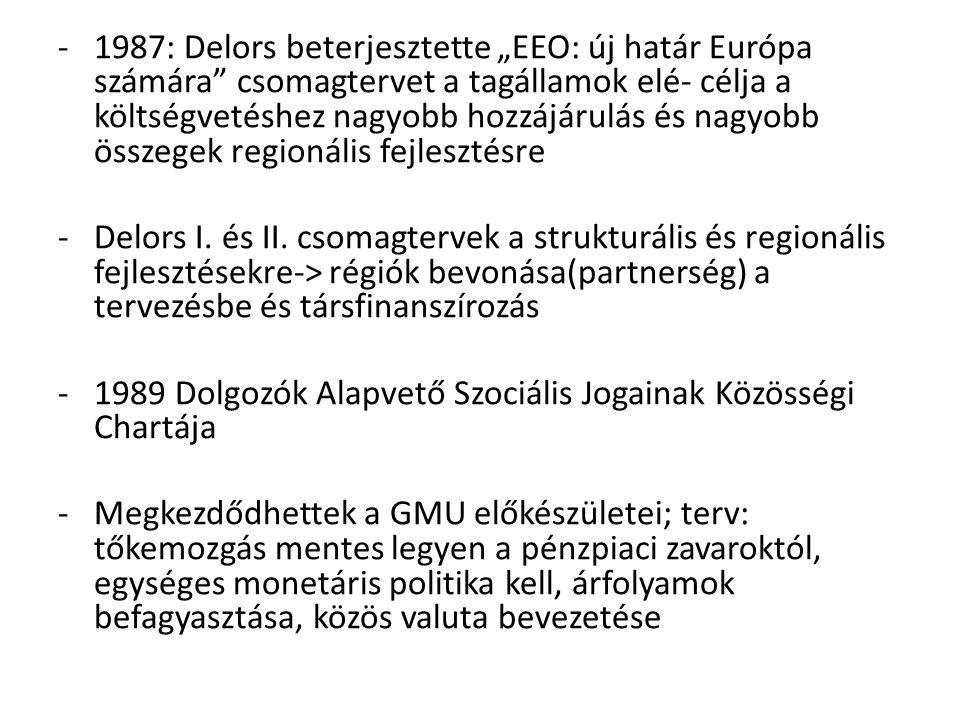 """1987: Delors beterjesztette """"EEO: új határ Európa számára csomagtervet a tagállamok elé- célja a költségvetéshez nagyobb hozzájárulás és nagyobb összegek regionális fejlesztésre"""
