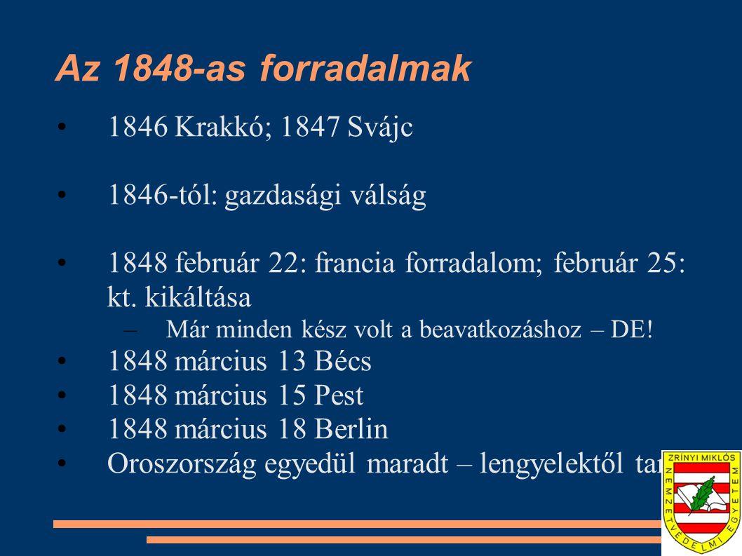 Az 1848-as forradalmak 1846 Krakkó; 1847 Svájc