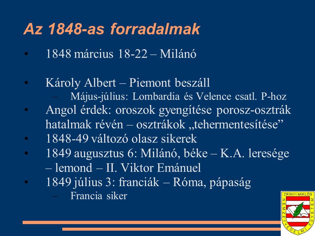 Az 1848-as forradalmak 1848 március 18-22 – Milánó