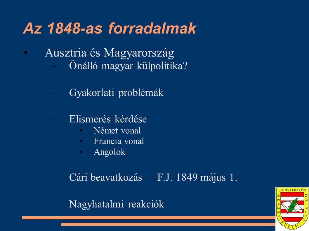 Az 1848-as forradalmak Ausztria és Magyarország