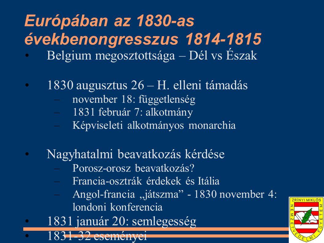 Európában az 1830-as évekbenongresszus 1814-1815
