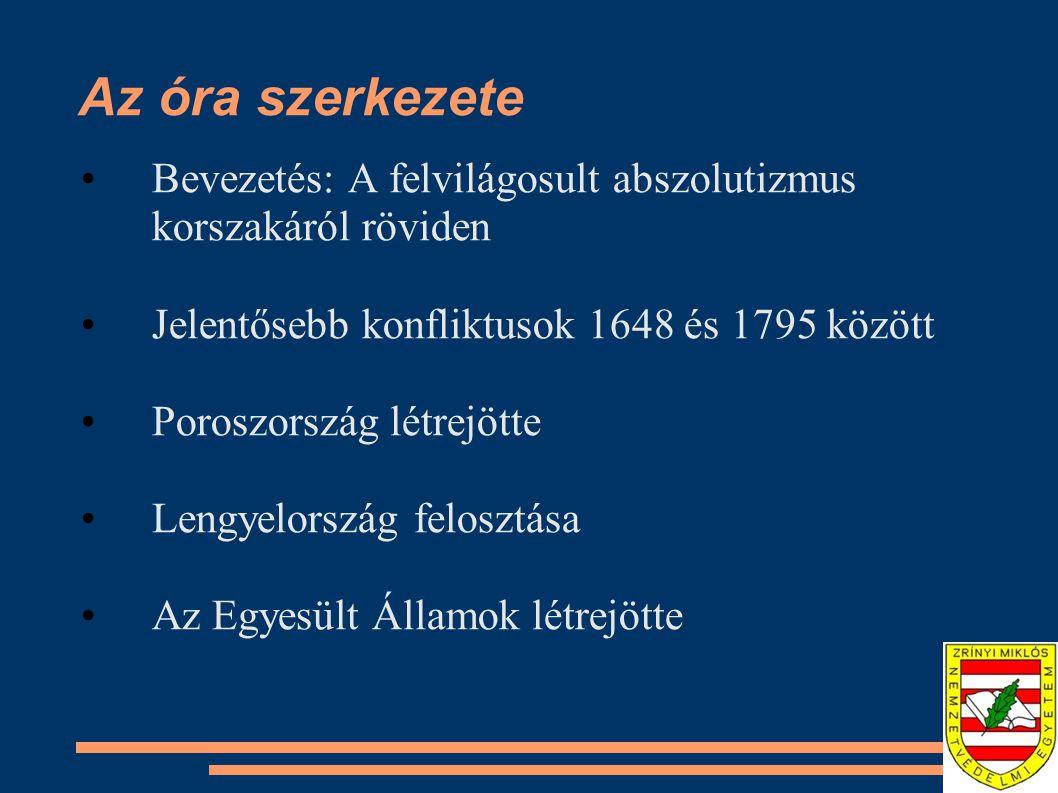 Az óra szerkezete Bevezetés: A felvilágosult abszolutizmus korszakáról röviden. Jelentősebb konfliktusok 1648 és 1795 között.
