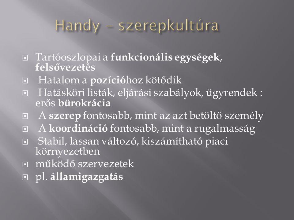 Handy – szerepkultúra Tartóoszlopai a funkcionális egységek, felsővezetés. Hatalom a pozícióhoz kötődik.
