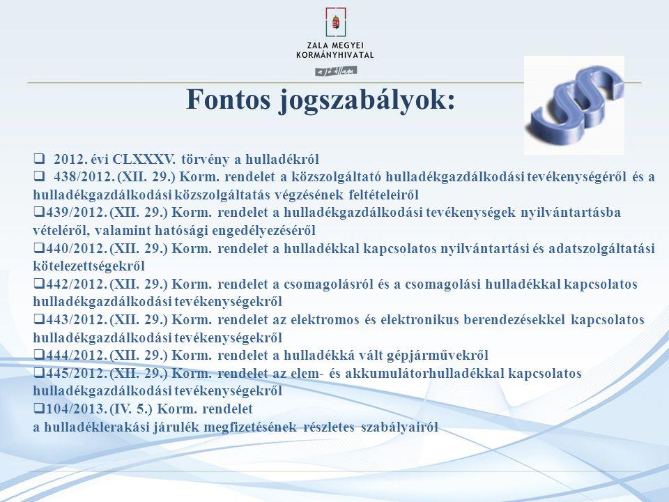 Fontos jogszabályok: 2012. évi CLXXXV. törvény a hulladékról