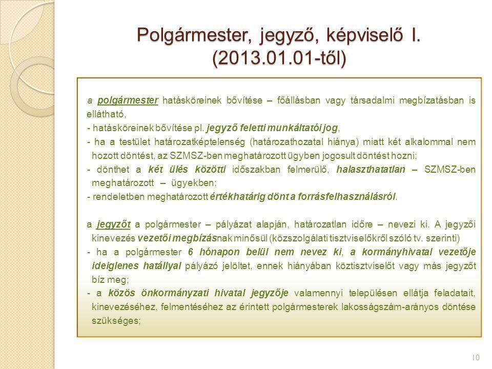 Polgármester, jegyző, képviselő I. (2013.01.01-től)