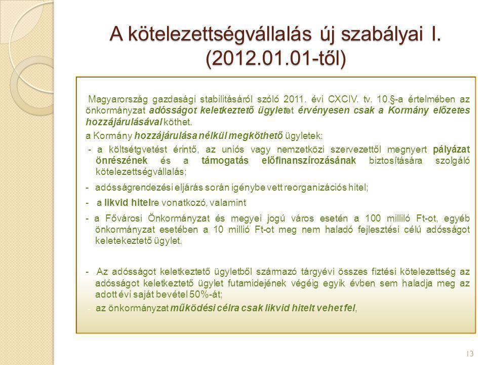 A kötelezettségvállalás új szabályai I. (2012.01.01-től)