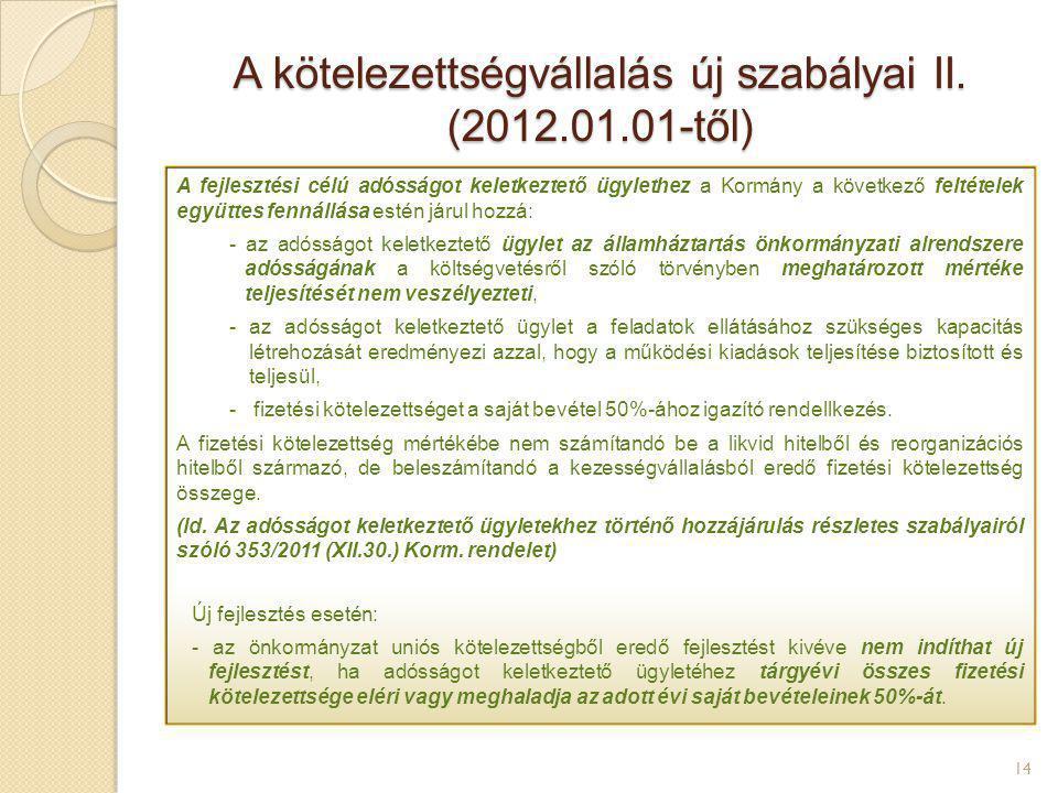 A kötelezettségvállalás új szabályai II. (2012.01.01-től)