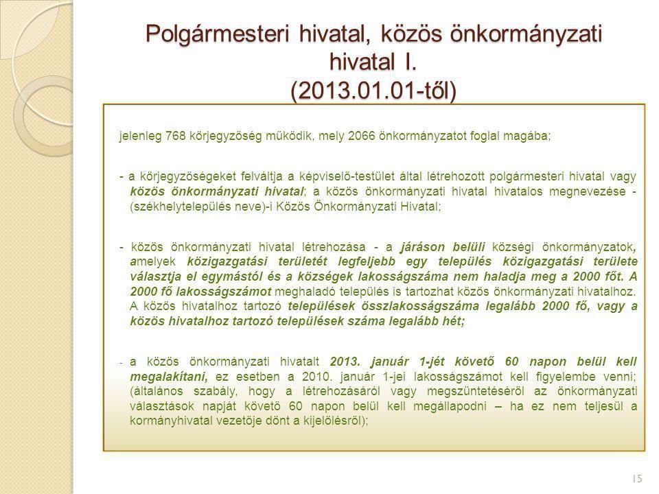 Polgármesteri hivatal, közös önkormányzati hivatal I. (2013.01.01-től)