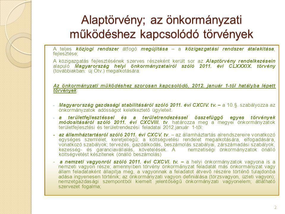 Alaptörvény; az önkormányzati működéshez kapcsolódó törvények