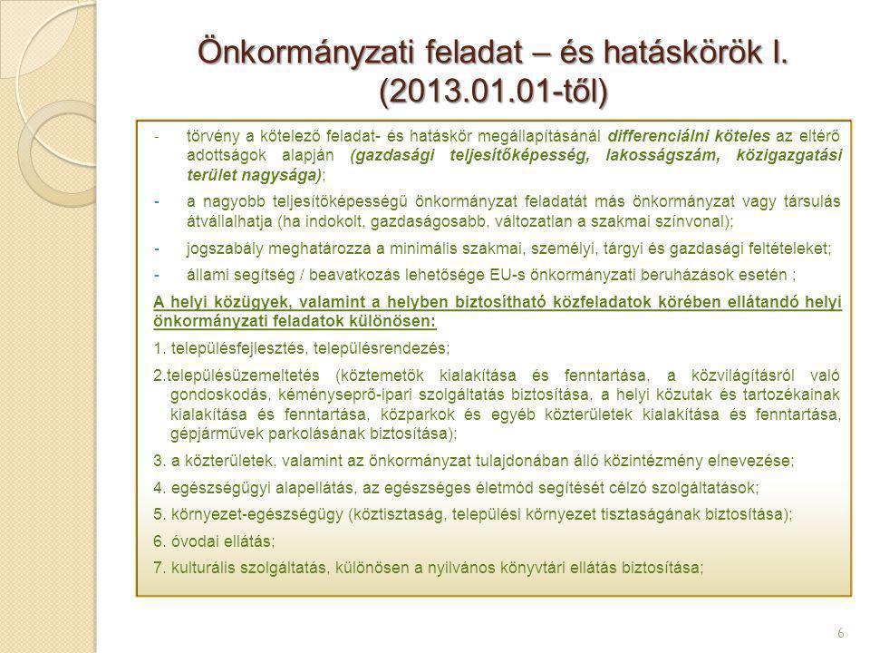 Önkormányzati feladat – és hatáskörök I. (2013.01.01-től)