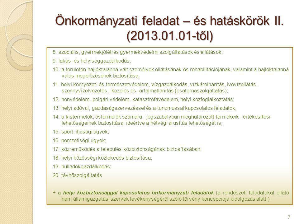 Önkormányzati feladat – és hatáskörök II. (2013.01.01-től)