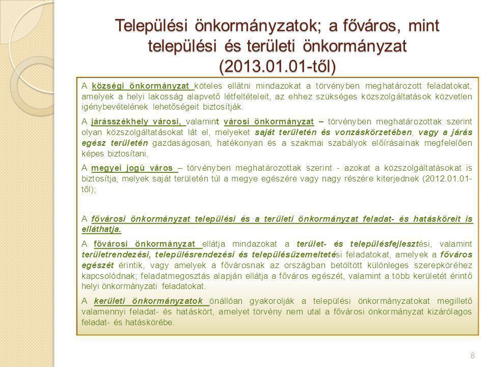 Települési önkormányzatok; a főváros, mint települési és területi önkormányzat (2013.01.01-től)