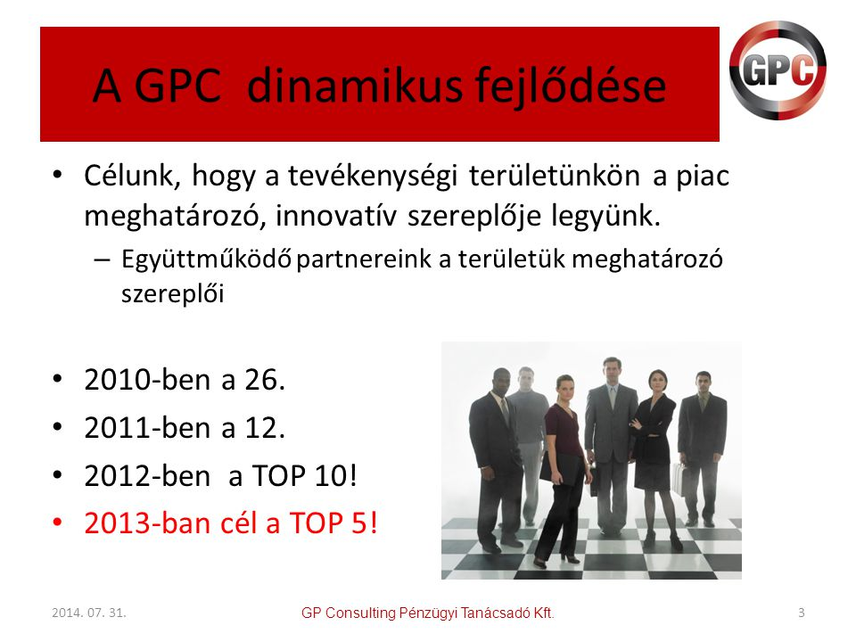 A GPC dinamikus fejlődése