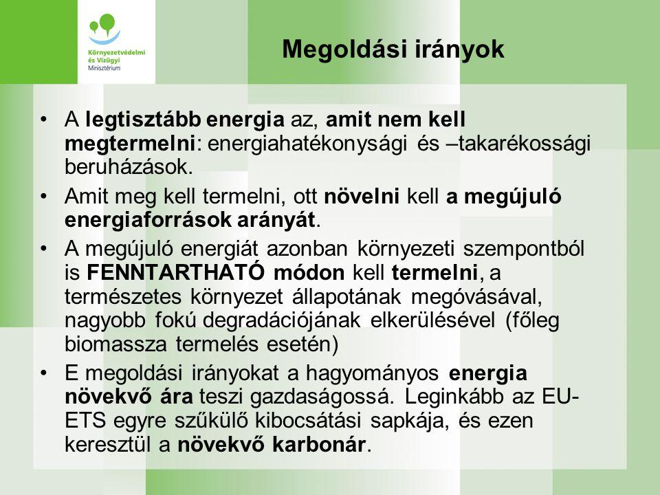 Megoldási irányok A legtisztább energia az, amit nem kell megtermelni: energiahatékonysági és –takarékossági beruházások.