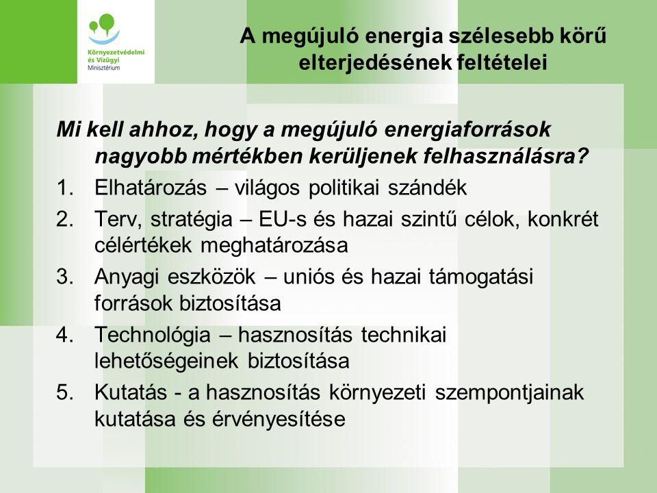 A megújuló energia szélesebb körű elterjedésének feltételei