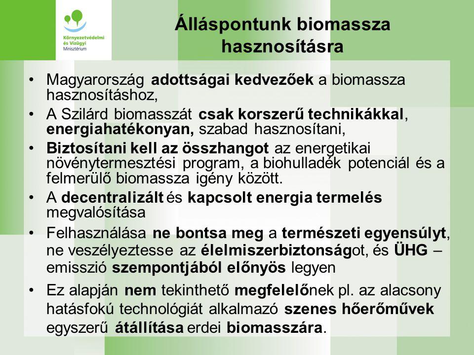 Álláspontunk biomassza hasznosításra