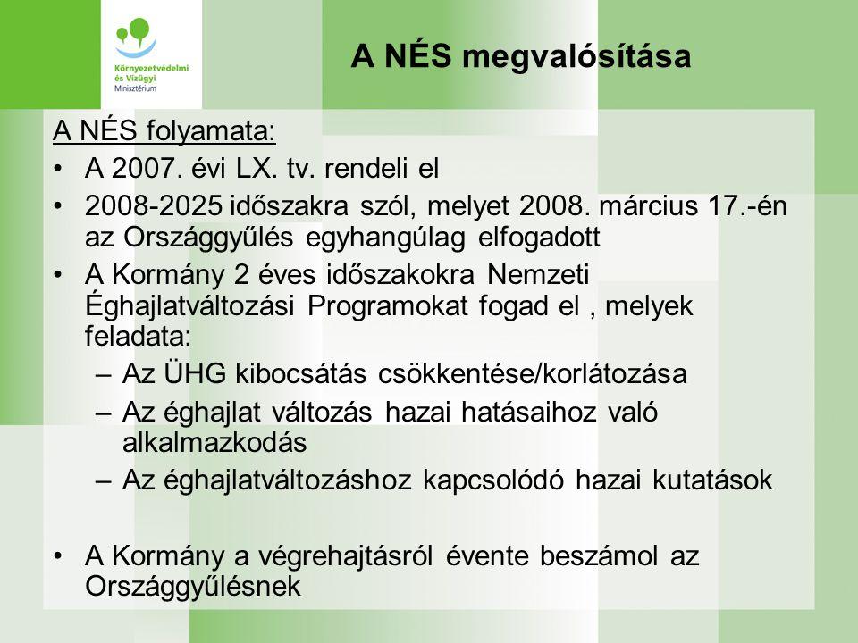 A NÉS megvalósítása A NÉS folyamata: A 2007. évi LX. tv. rendeli el