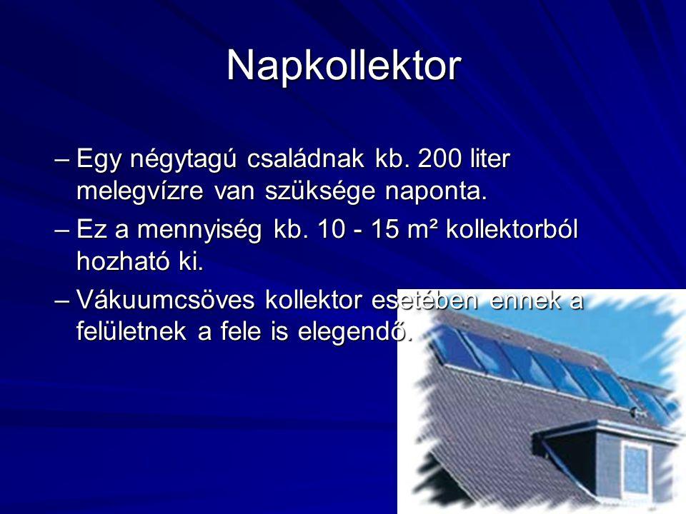 Napkollektor Egy négytagú családnak kb. 200 liter melegvízre van szüksége naponta. Ez a mennyiség kb. 10 - 15 m² kollektorból hozható ki.