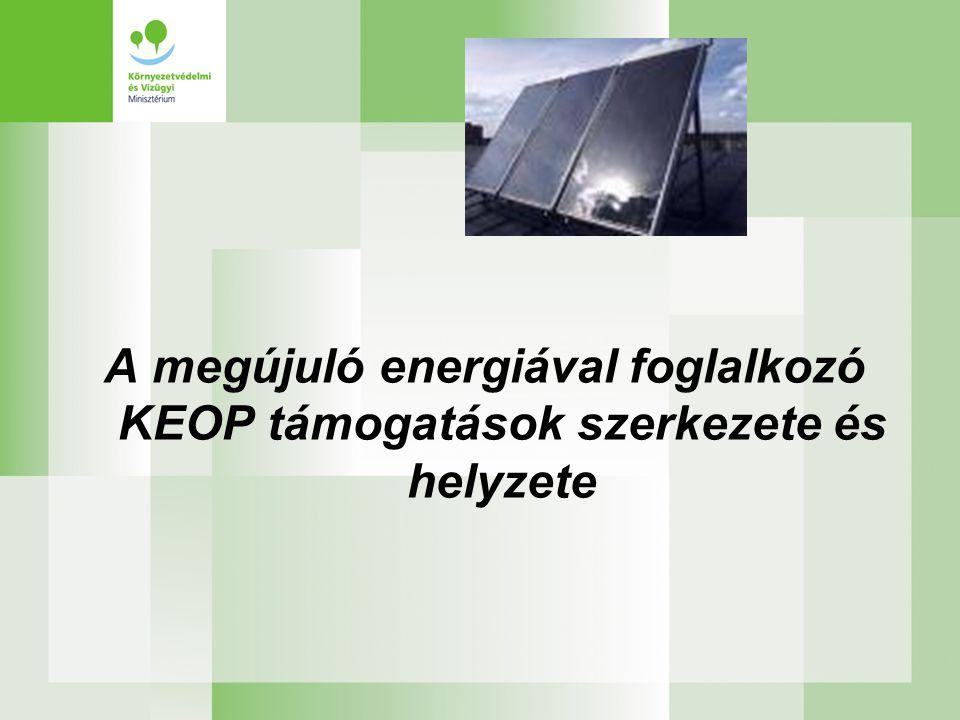 A megújuló energiával foglalkozó KEOP támogatások szerkezete és helyzete